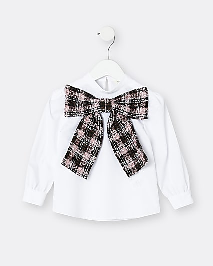 Mini girls pink boucle bow blouse top