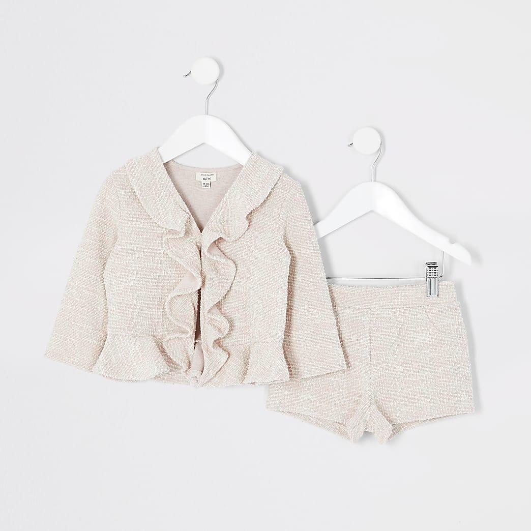 Mini - Roze bouclé jack outfit met ruches voor meisjes
