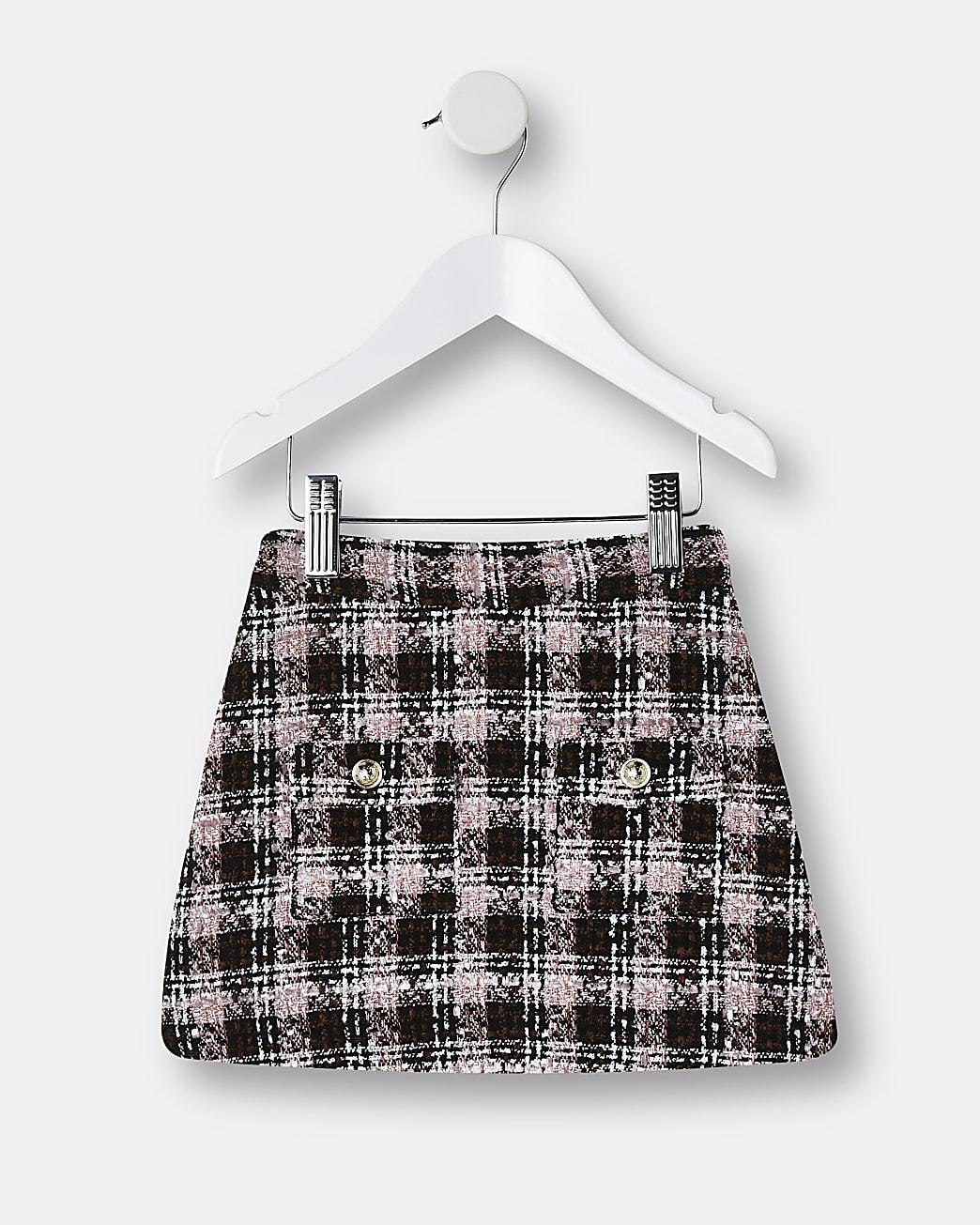 Mini girls pink boucle skirt