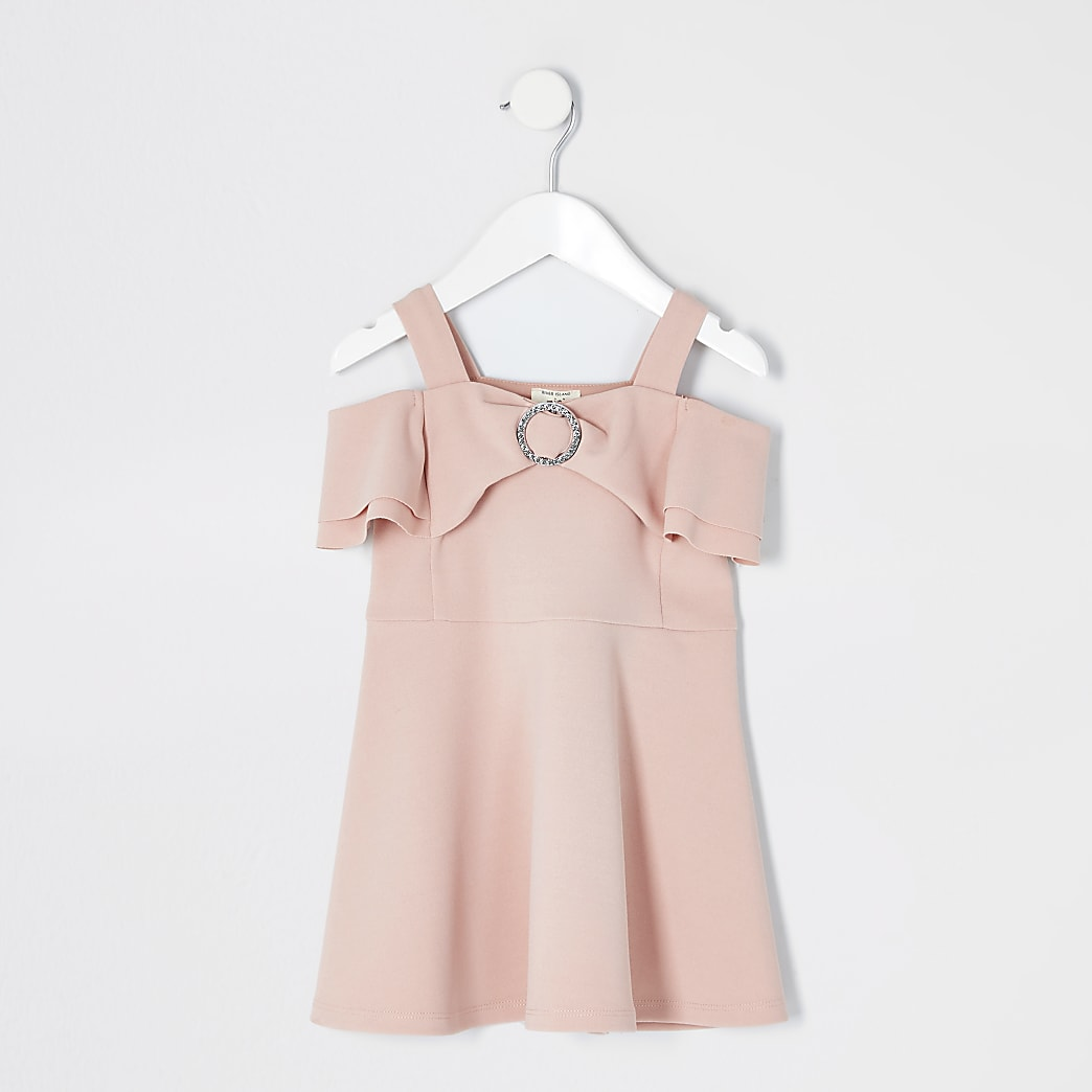 Mini girls pink bow bardot skater dress