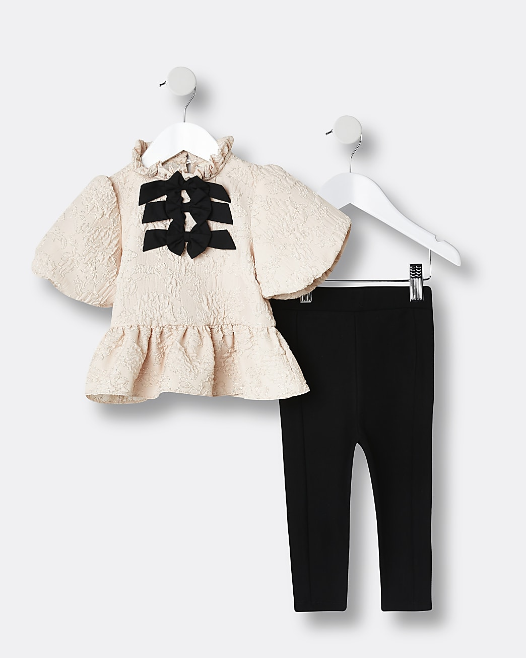 Mini girls pink bow blouse top outfit