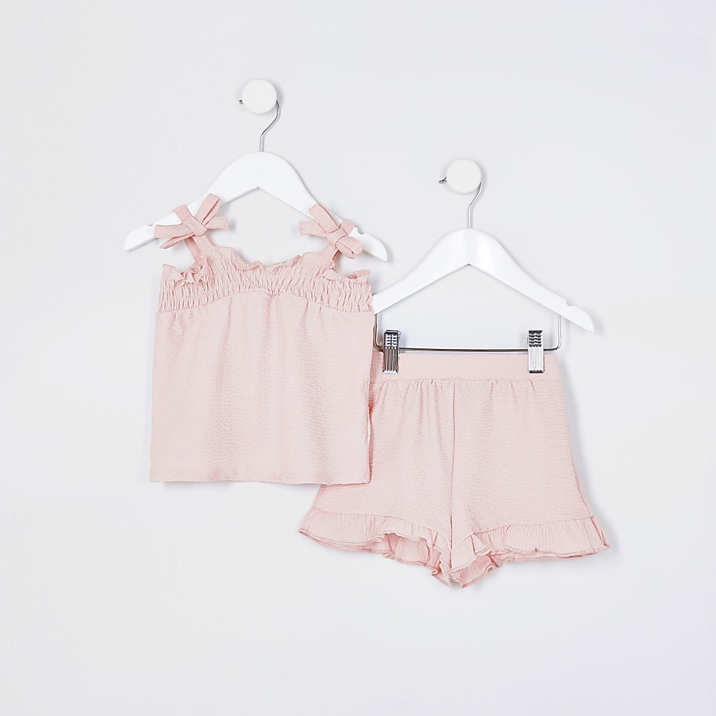 Mini girls pink bow cami outfit