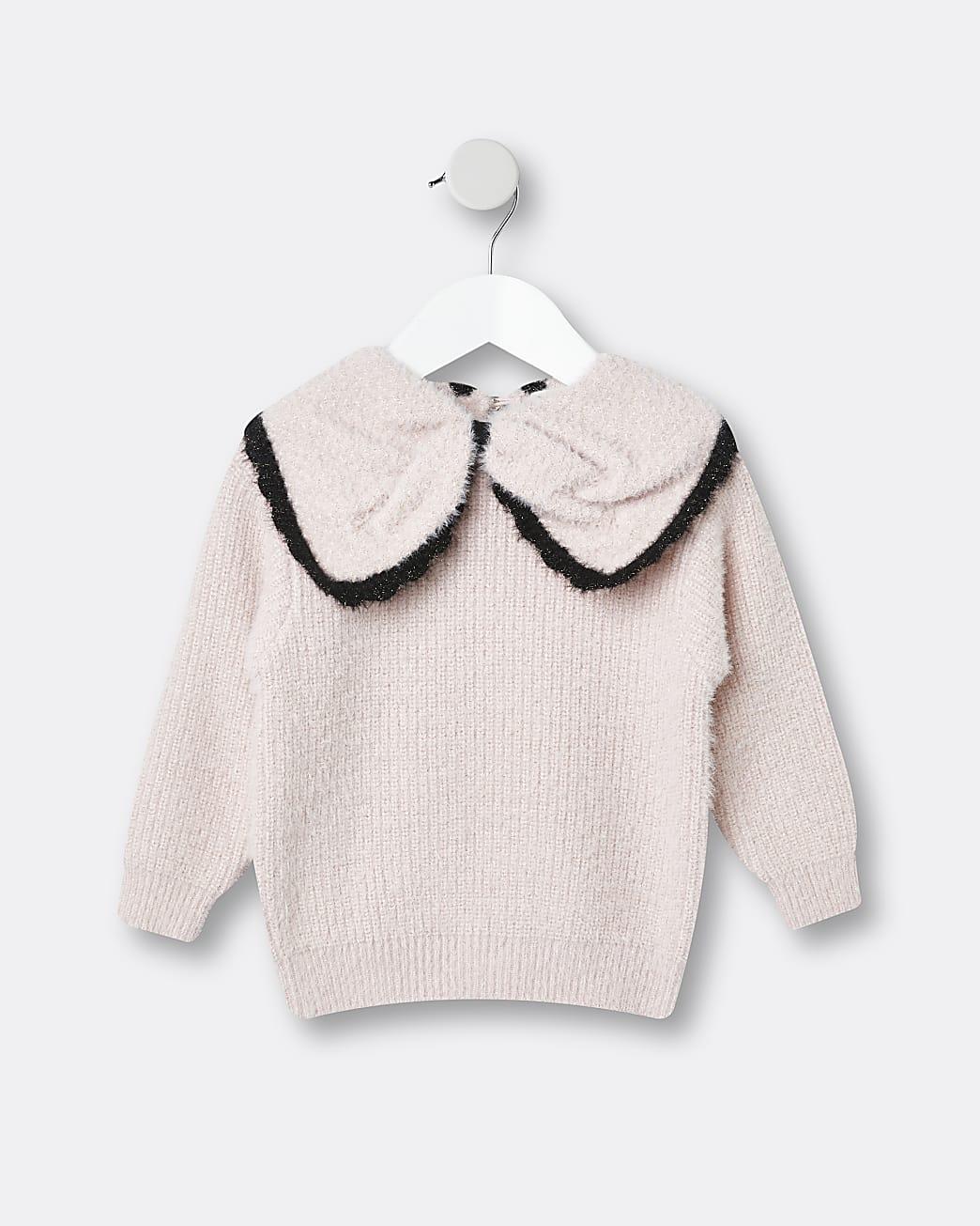 Mini girls pink bow collar jumper