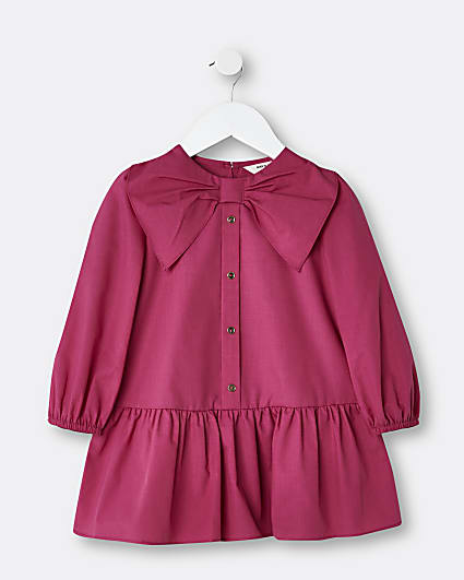 Mini girls pink bow collar shirt dress