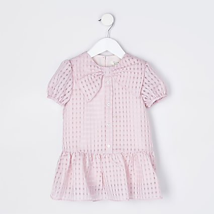 Mini girls pink bow collar shirt dress