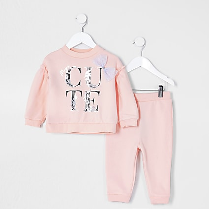 Mini girls pink bow 'Cute' sweat outfit