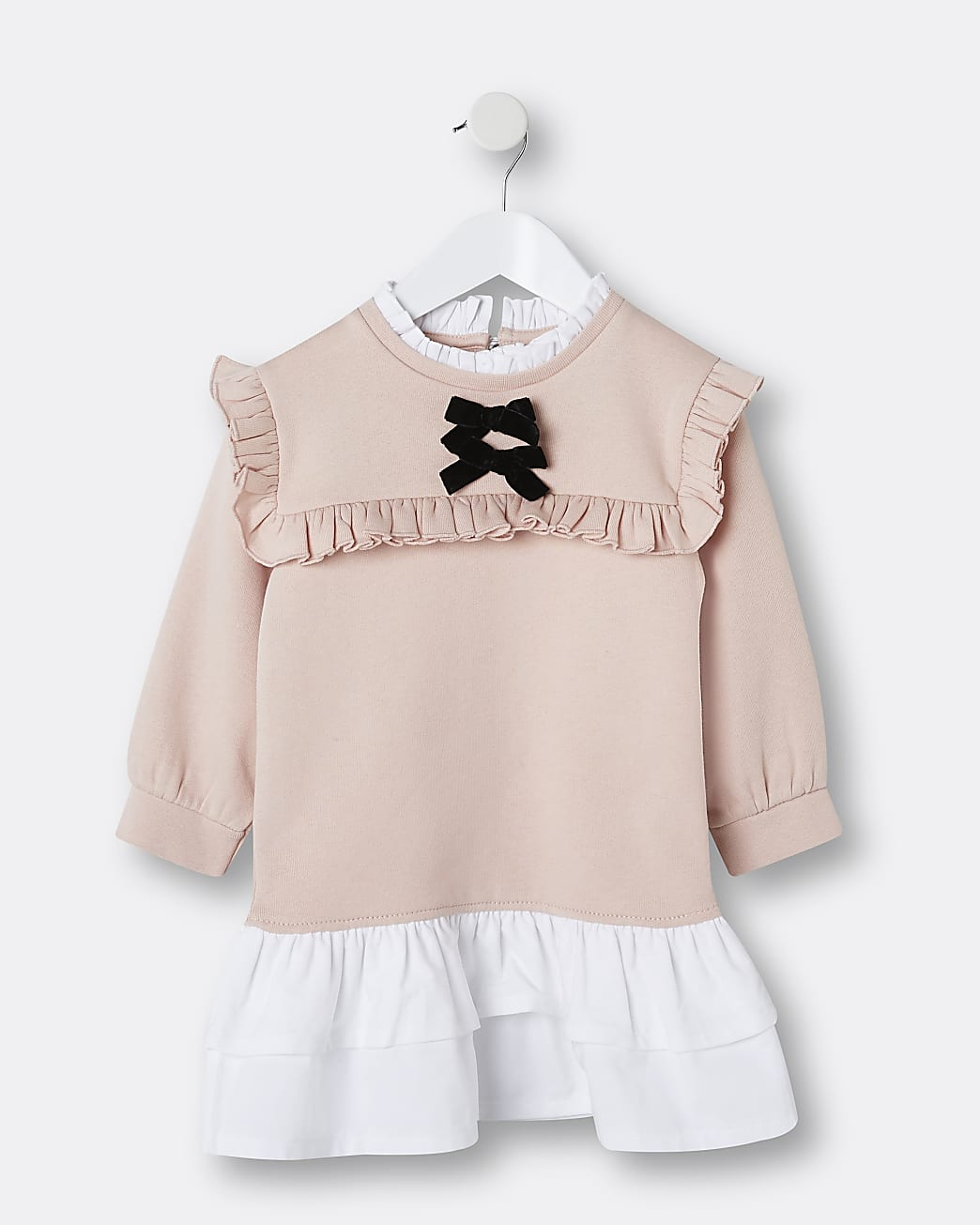Mini girls pink bow frill hem sweater dress