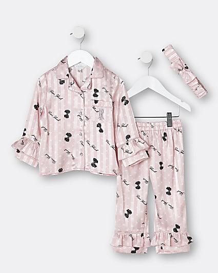 Mini girls pink bow frill satin pyjama set