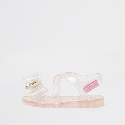 Mini girls pink bow jelly sandals