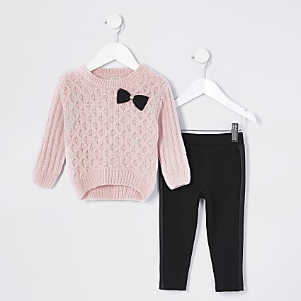 Mini girls pink bow jumper and leggings set