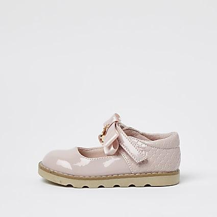 Mini girls pink bow patent sandals