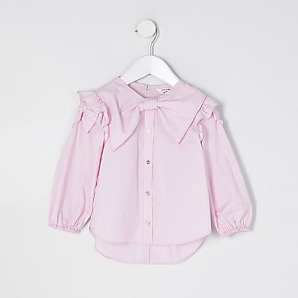 Mini girls pink bow shirt