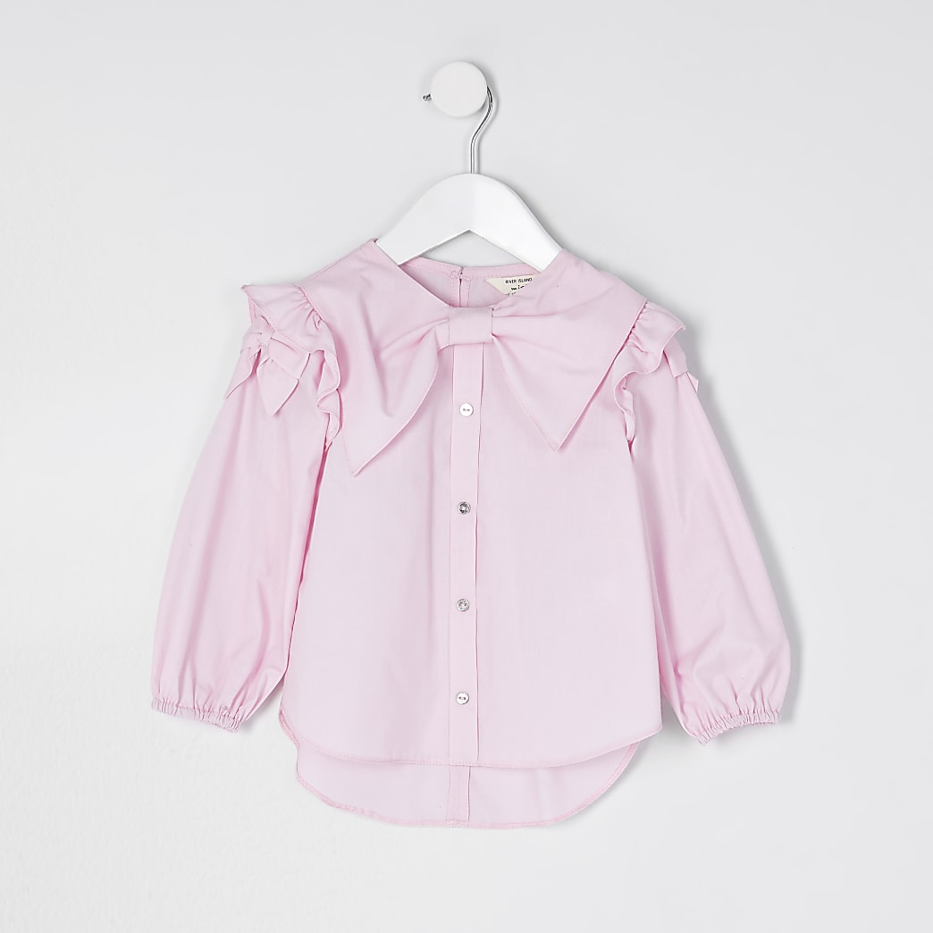 Mini girls pink bow shirt