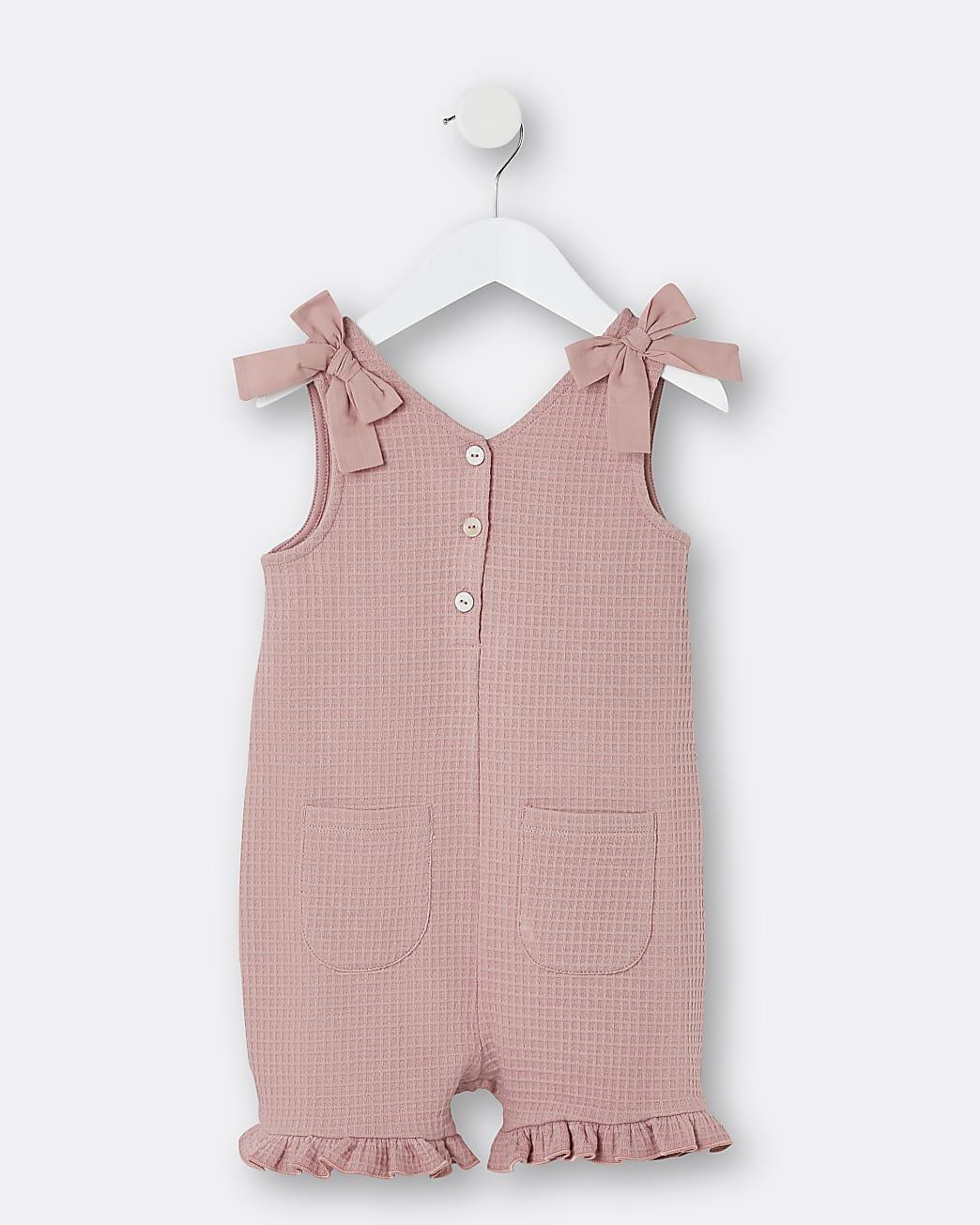 Mini girls pink bow shoulder playsuit