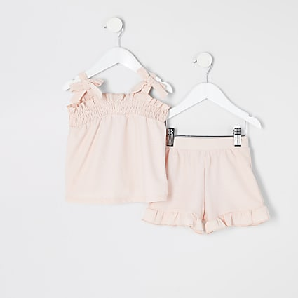 Mini girls pink bow sleeve top outfit