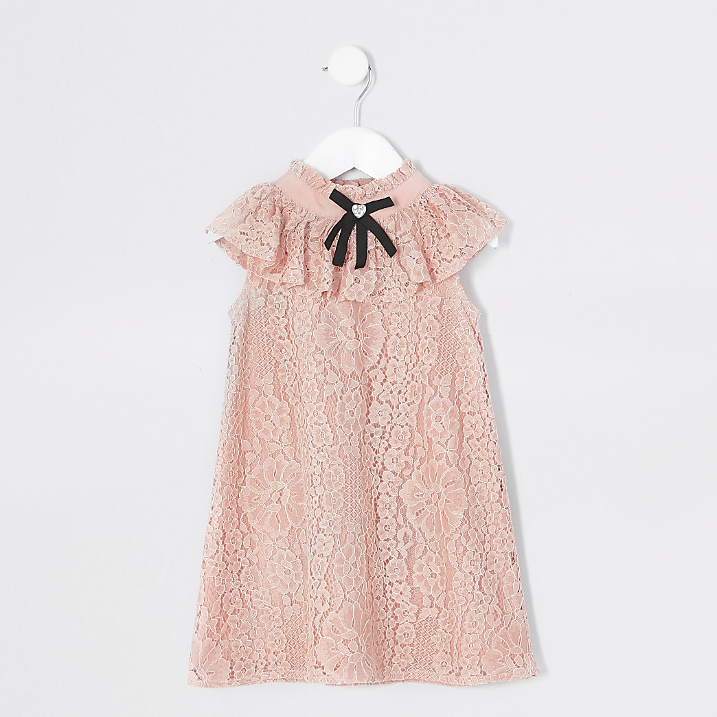 Mini girls pink bow sleeveless trapeze dress