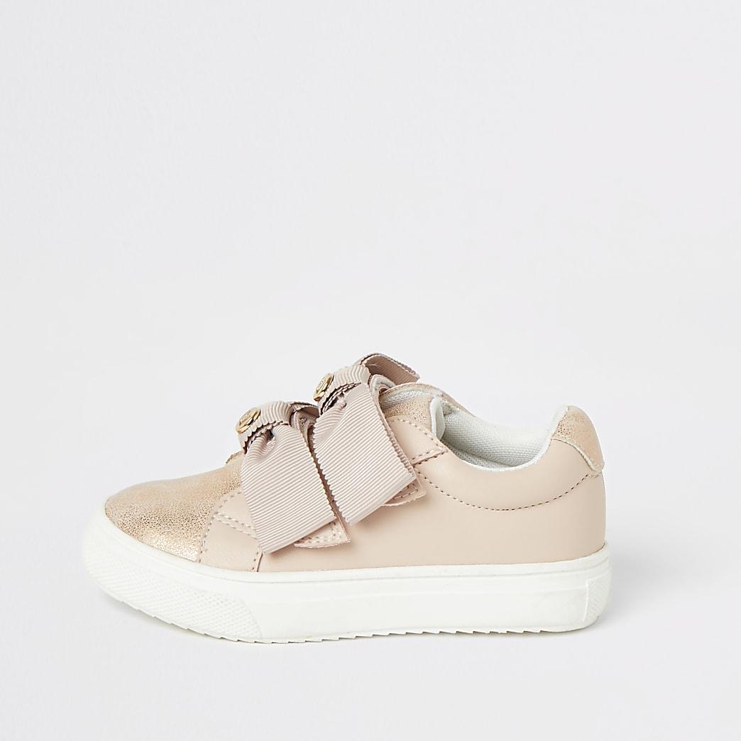Mini - Roze sneakers met strikjes en bandjes voor meisjes