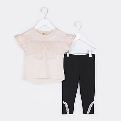 Mini girls pink bow t-shirt and leggings set