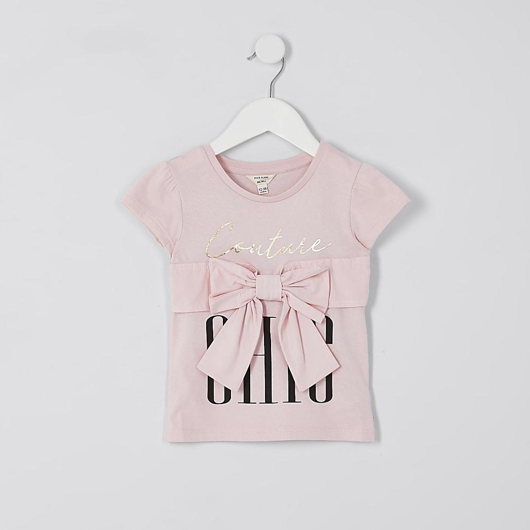 Mini girls pink bow trim t-shirt