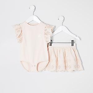 Mini - Roze geborduurde bodysuit outfit voor meisjes