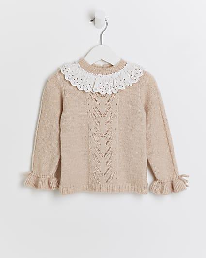 Mini girls pink broderie collar jumper