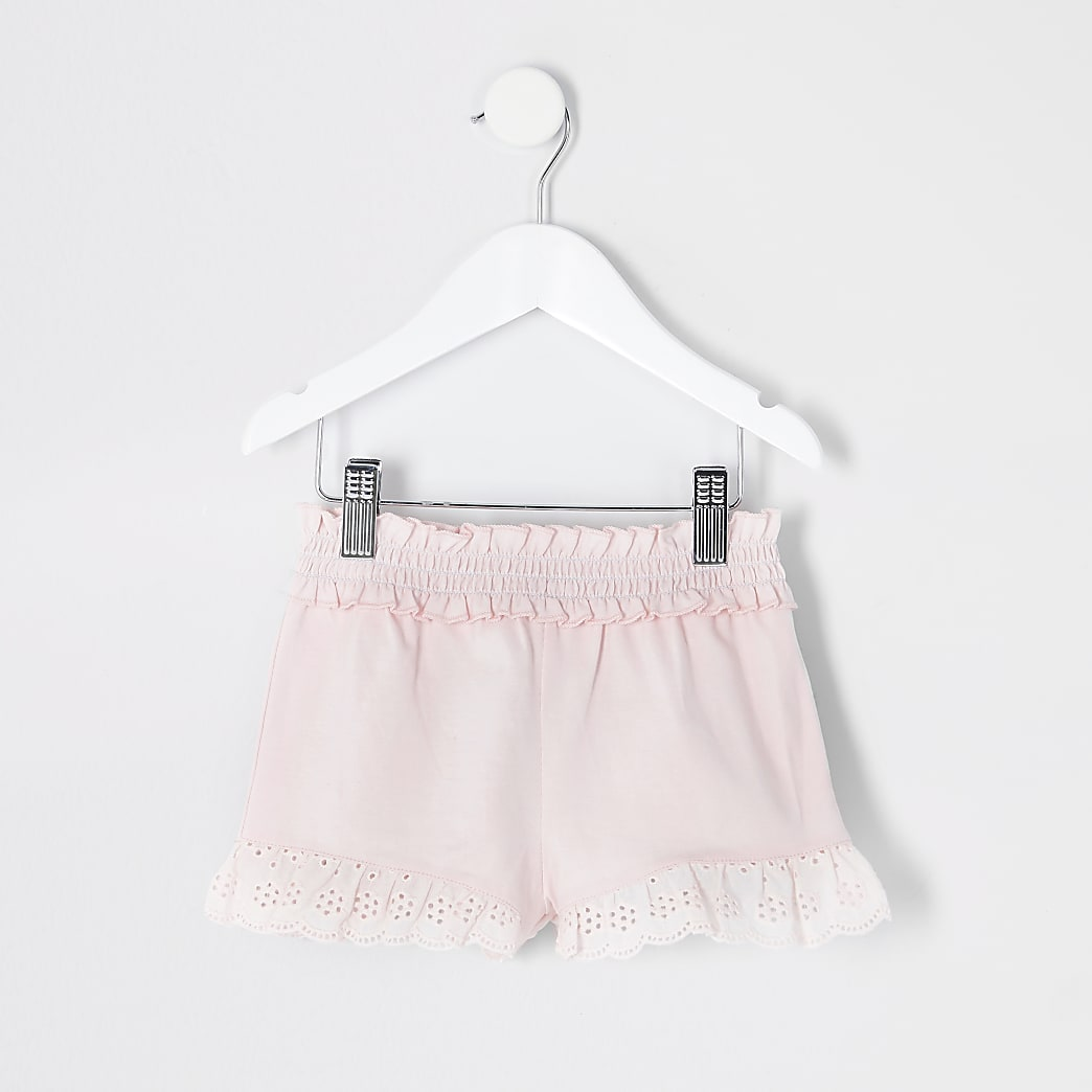 Mini girls pink broderie frill shorts