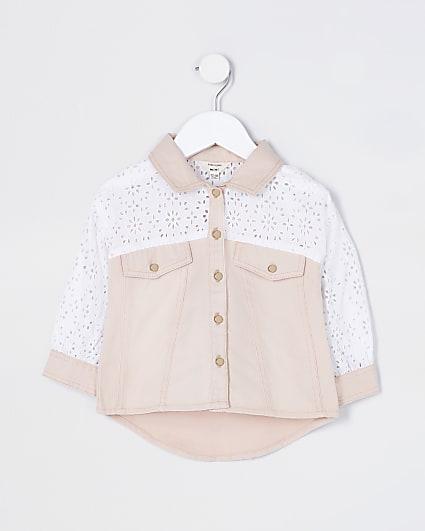 Mini girls pink broderie shacket