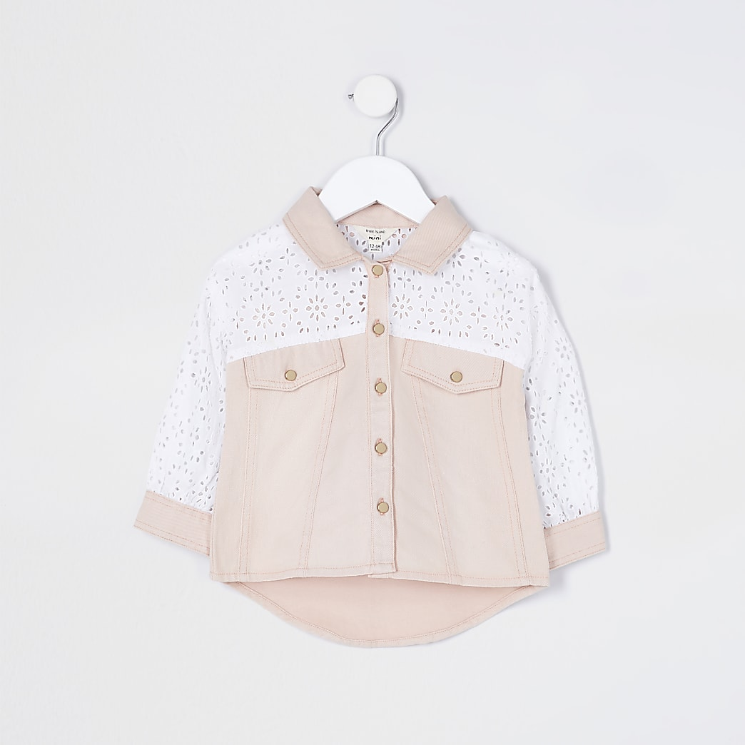 Mini girls pink broderie shacket