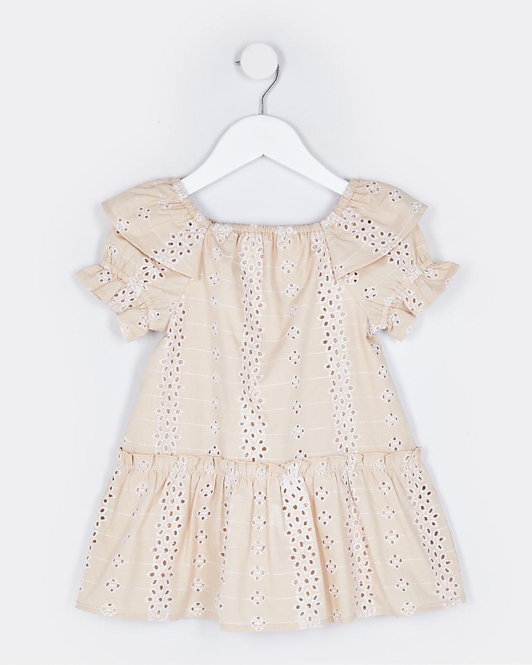 Mini girls pink broderie smock dress