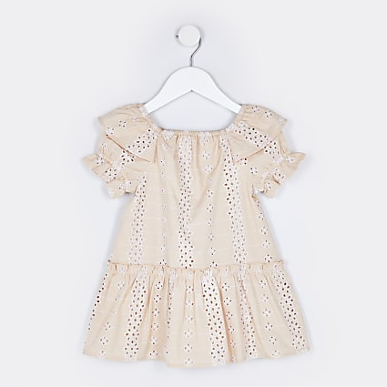 Mini girls pink broderie smock dress
