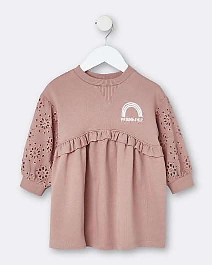 Mini girls pink broderie sweater dress