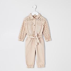 Mini - Roze geborduurd jumpsuit met strikceintuur voor meisjes
