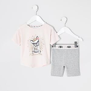 Mini– Kurzer Pyjama in Rosa mit Bulldoggen-Print