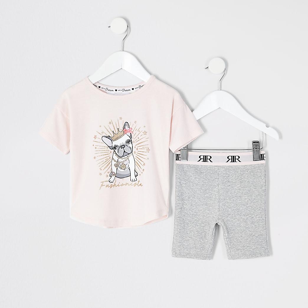 Mini - Roze pyjama en short met bulldogprint voor meisjes