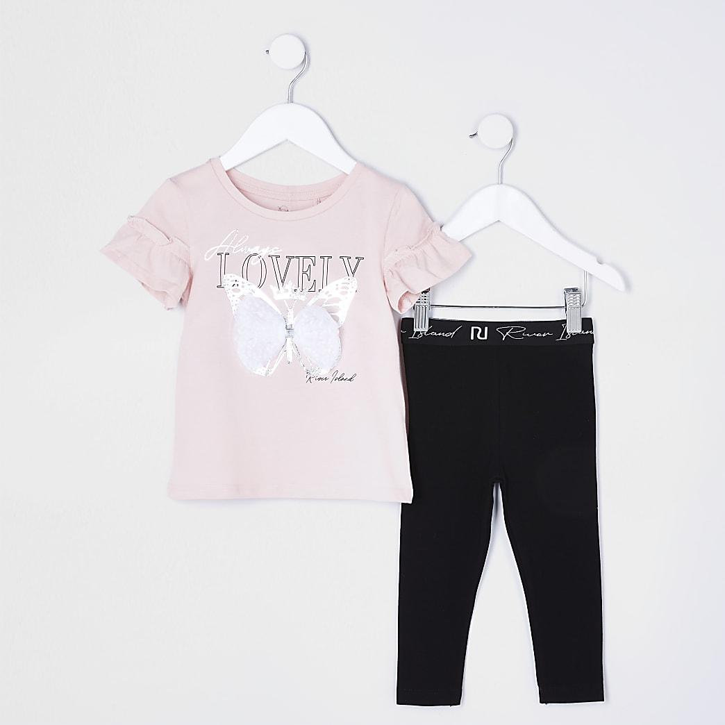 Mini girls pink butterfly bow t-shirt set