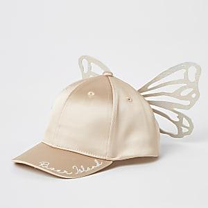 Mini – Rosa Satinkappe mit Schmetterling