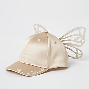 Mini - Roze satijnen pet met vlinderprint voor meisjes