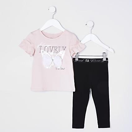 Mini girls pink butterfly t-shirt set