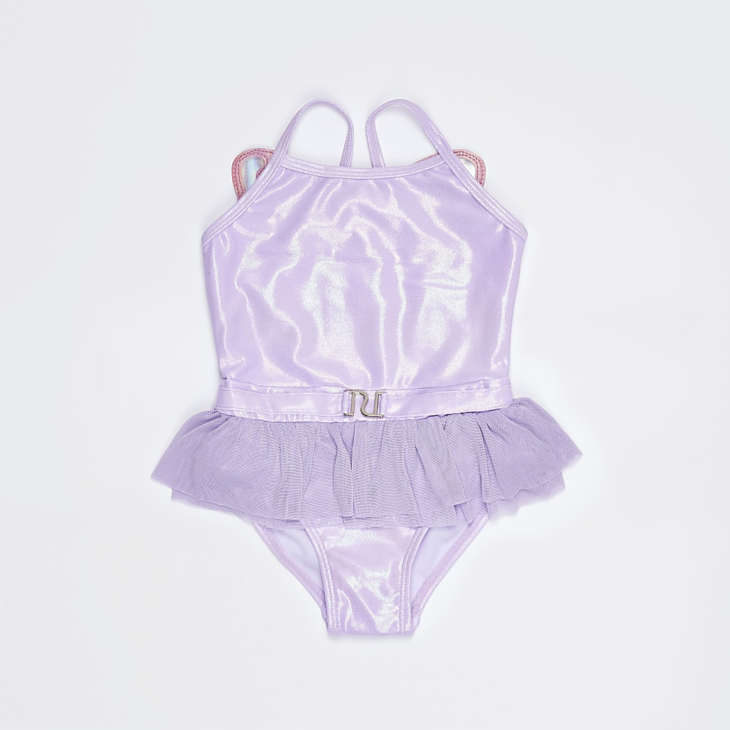Mini girls pink butterfly tutu swimsuit