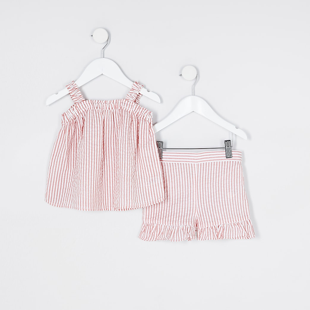 Mini girls pink cami top and shorts outfit
