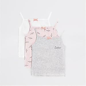 Set van 3 roze, grijze en witte cami-vesten voor meisjes