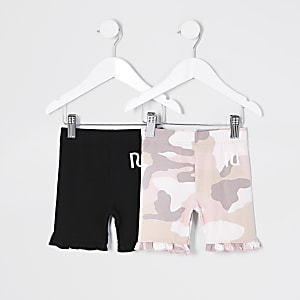 Mini girls pink camo cycling short 2 pack