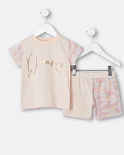 Mini girls pink camo print pyjama set
