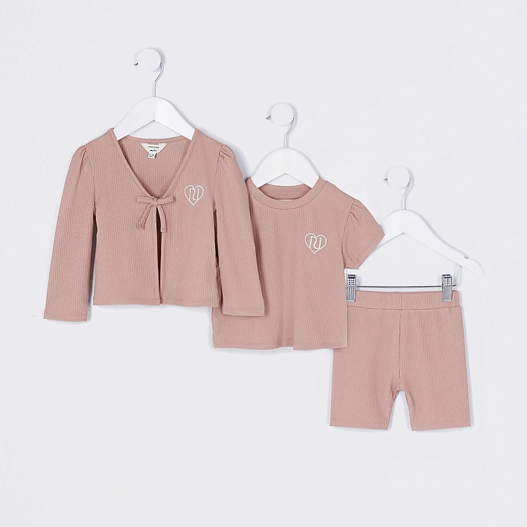 Mini girls pink cardigan 3 piece outfit