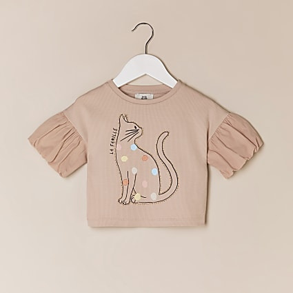Mini girls pink cat graphic t-shirt
