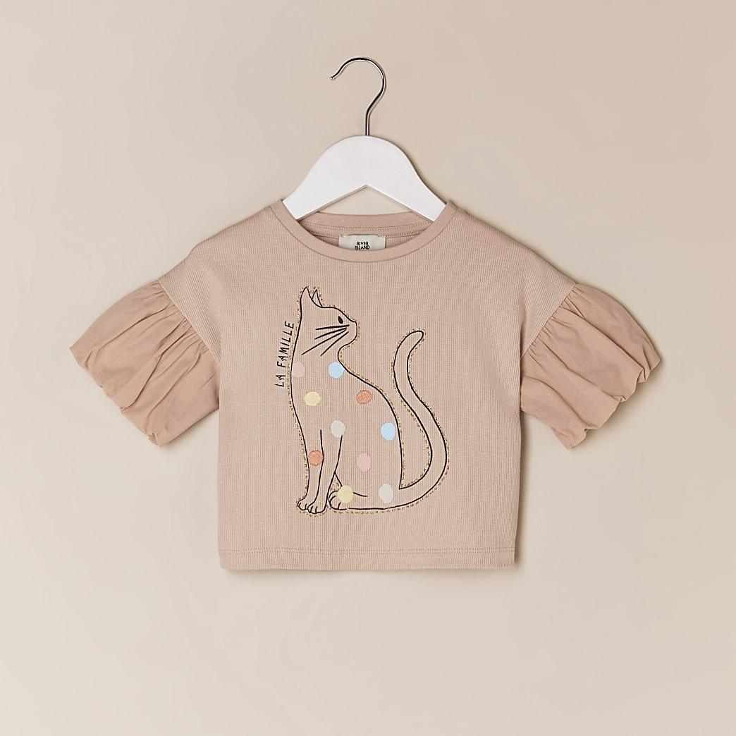 Mini girls pink cat graphic t-shirt
