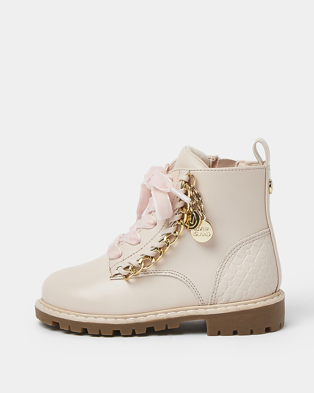 Mini girls pink chain trim lace up boots