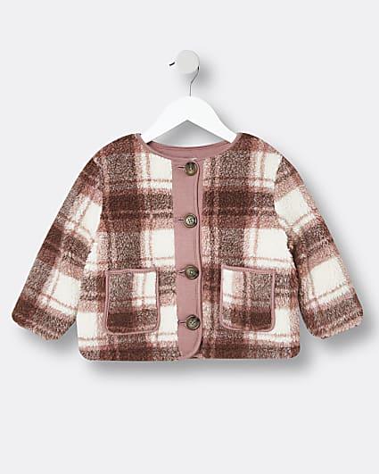 Mini girls pink check borg jacket