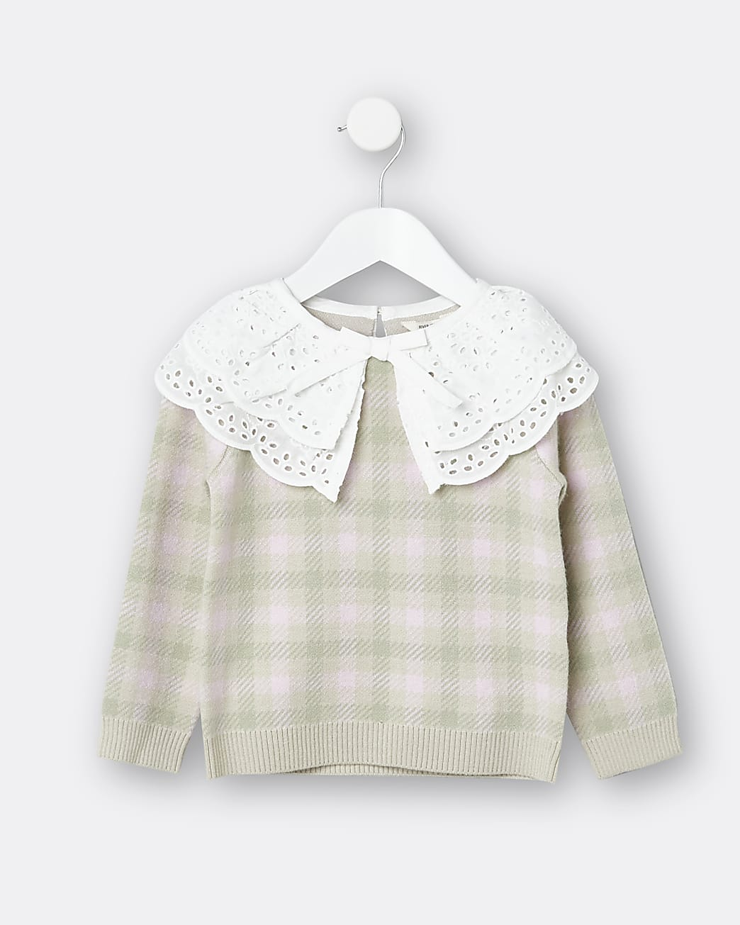 Mini girls pink check broderie collar jumper