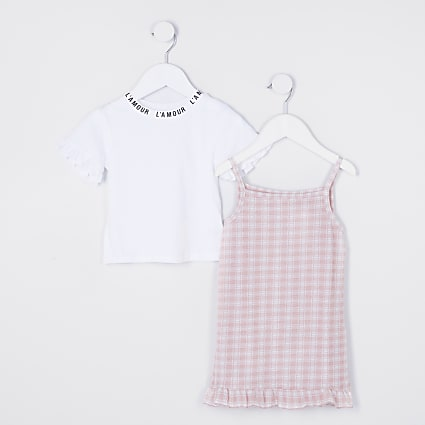 Mini girls pink check cami dress outfit